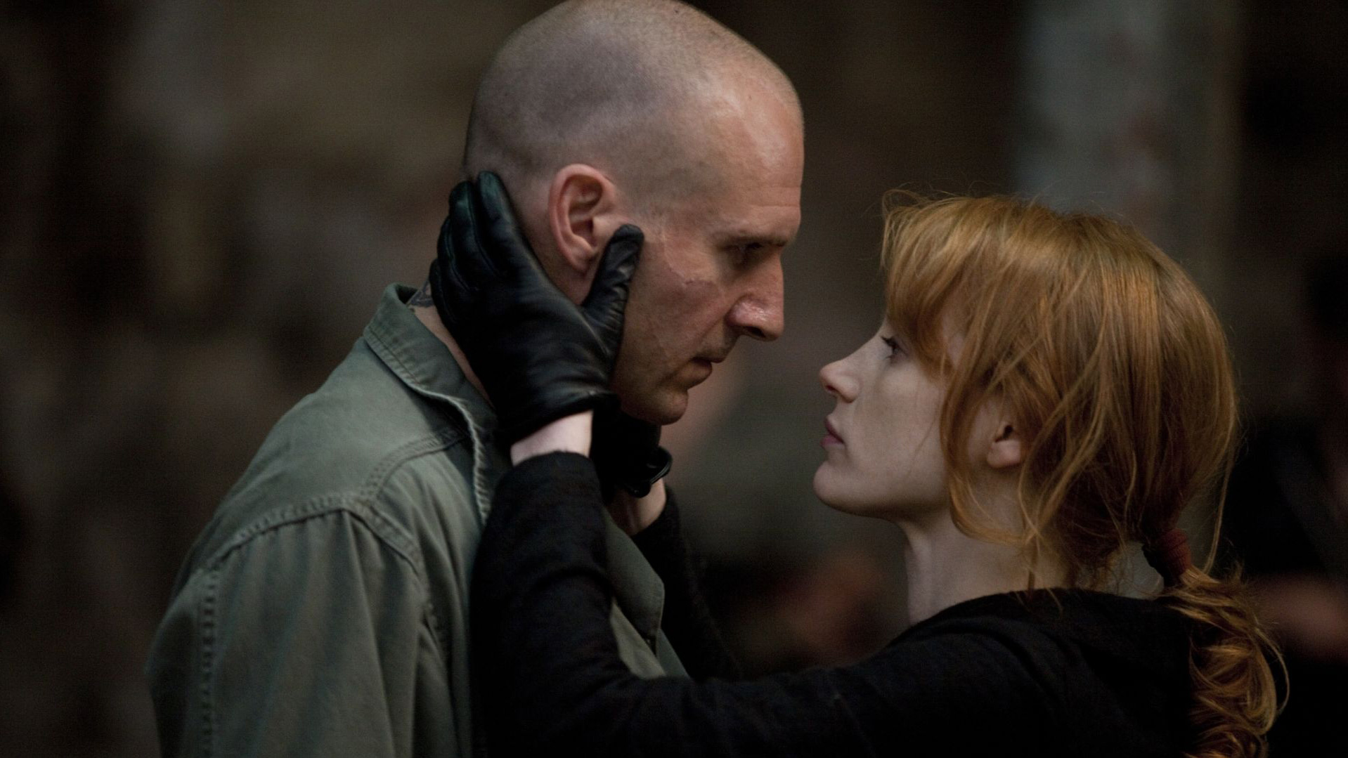 Ralph Fiennes and Jessica Chastain in Coriolanus