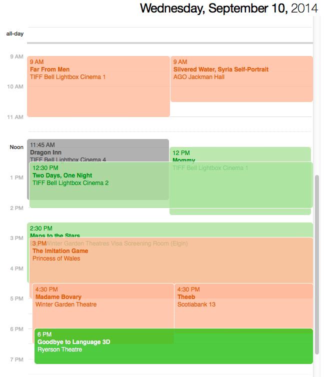 TIFF planning calendar